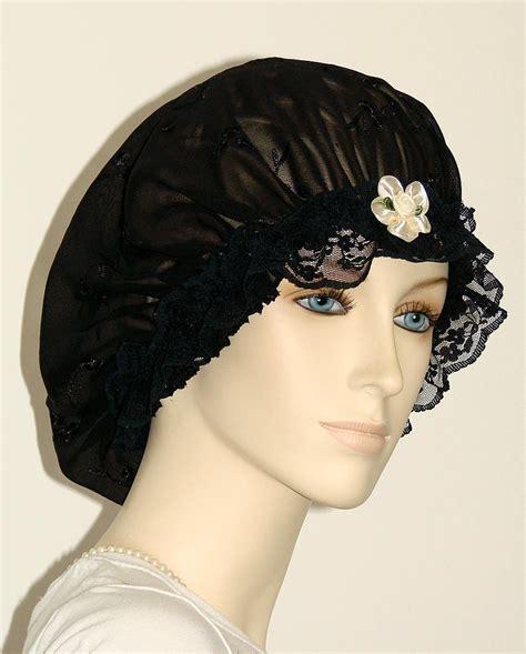 hair chiffon black floral embroidered chiffon hair bonnet pauljulia