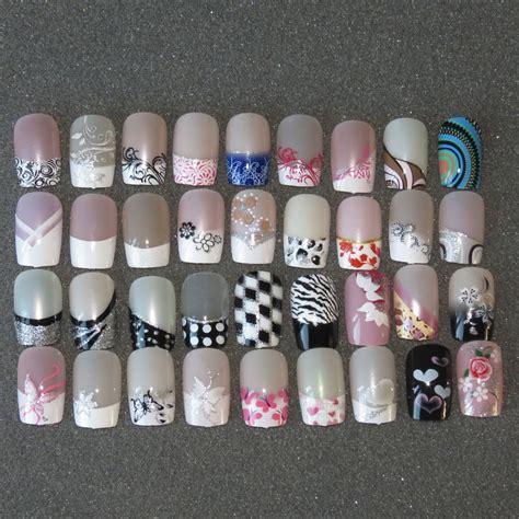 False Nail Tips Designs pre designed false nails 24 pre design airbrushed