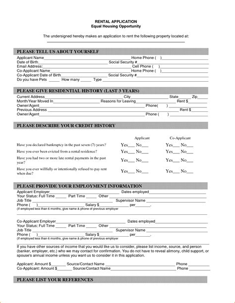 housing rental application template 8 basic rental application form printable receipt