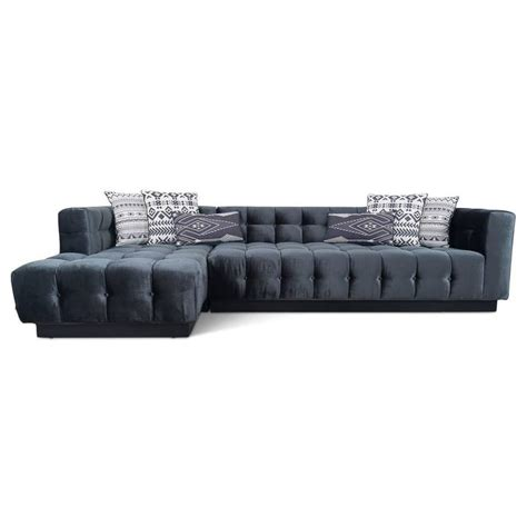 Velvet Sectional Sofa With Chaise Mid Century Sectional With Chaise Tufted In Black Velvet For Sale At 1stdibs