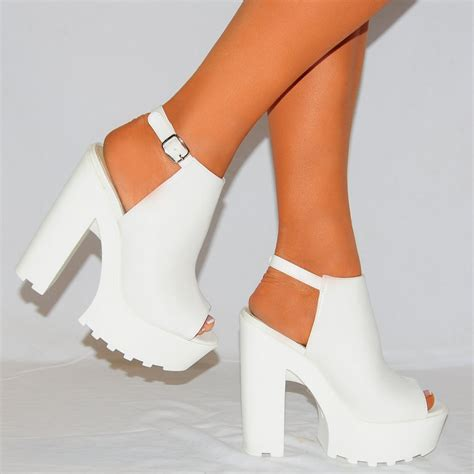 High Heels 2 White Murah womens white pu leather chunky platforms cleated high heels