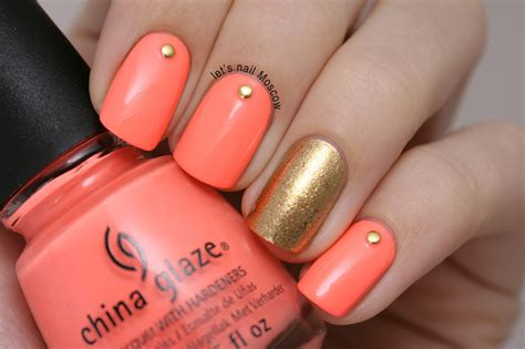 easy nail art bright colors salmon pink be studded nail art ring finger gold solid