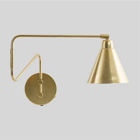 swing arm reading light brass swing arm wall light scandinavian swing arm