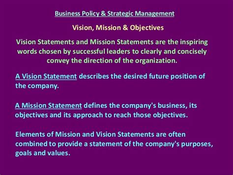 mission statement and objectives business policy strategic management