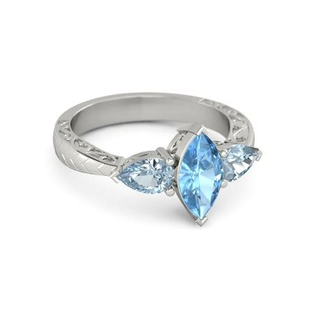 Gc Gc101 Silver Combi Rosegold marquise blue topaz 14k white gold ring with aquamarine