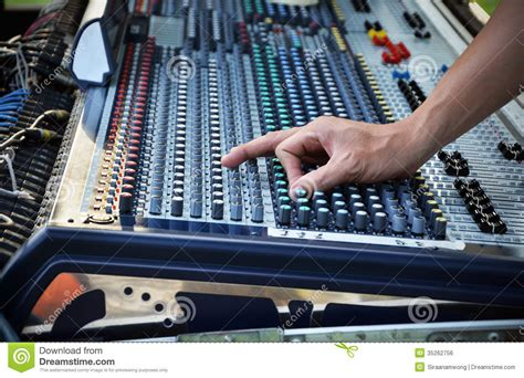 Audio Mixer Belt Up sound engineer works with sound mixer royalty free stock