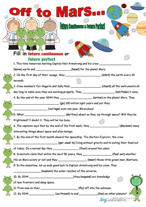 pattern of future continuous tense future tenses with key worksheet free esl printable
