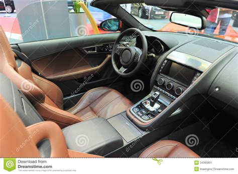 Brown Leather Interior Car by Leather Interior Of A Convertible Jaguar Sports Car Stock