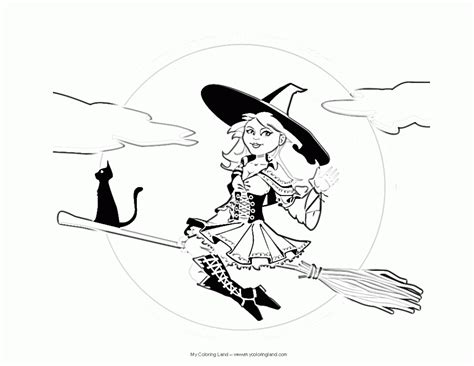 coloring pages witch on a broom coloring pages of witches on a broom coloring home