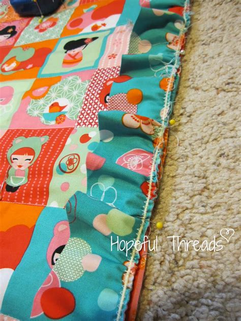 Patchwork Baby Blanket Tutorial - hopeful threads ruffle trimmed faux patchwork baby