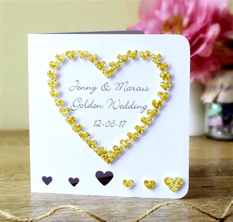 Handmade Golden Wedding Cards - handmade 50th golden wedding anniversary card 50th wedding
