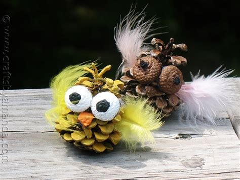 owl creations from pine cones and fluff pinecone owls crafts by amanda