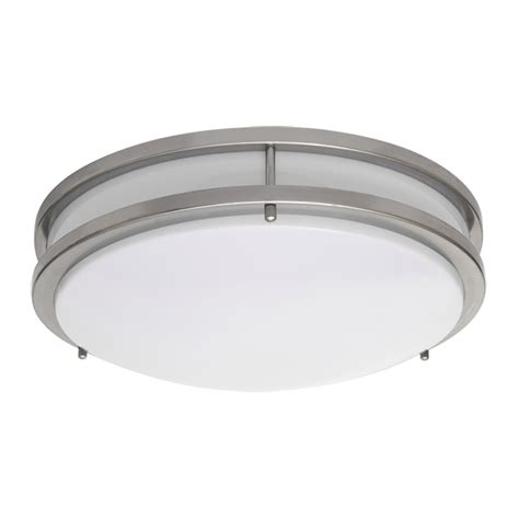 Lowes Kitchen Lighting Ceiling Shop Amax Lighting 14 In W Brushed Nickel Led Ceiling Flush Mount Light At Lowes