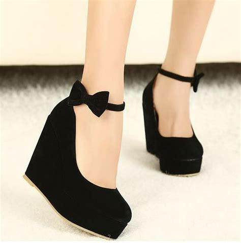 Wedges Black Bow Termurahh new black bow high heels womens shoes wedges fashion womens pumps free shipping