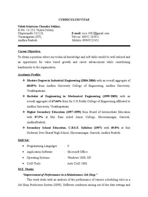 Detailed Resume by Detailed Resume Engineering Academia