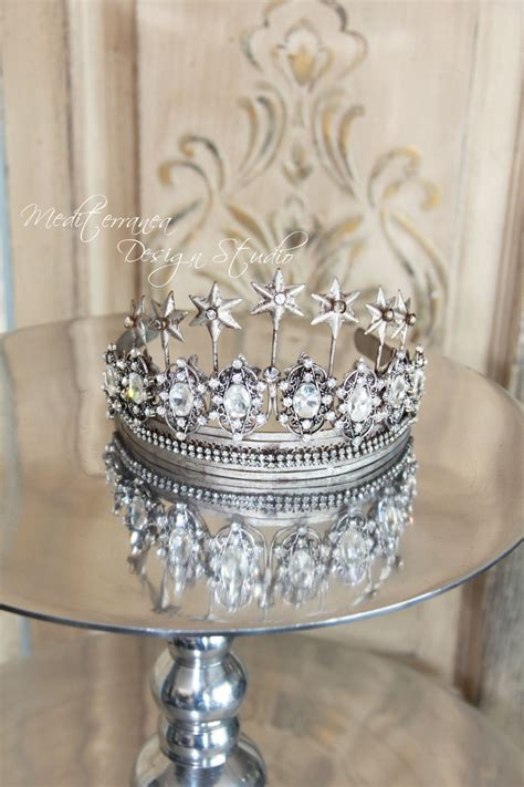 crown decor embellished metal crown crown decor silver tiara