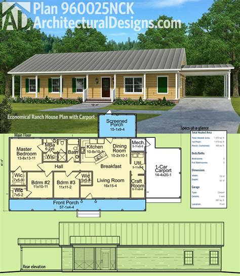 country style house floor plans plan 960025nck economical ranch house plan with carport