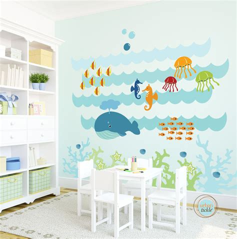 Kids Wall Decal Under The Sea Extra Large Nursery Artwork Large Nursery Wall Decals