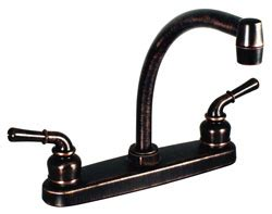 rubbed bronze two handle hi arc kitchen pot filler rv