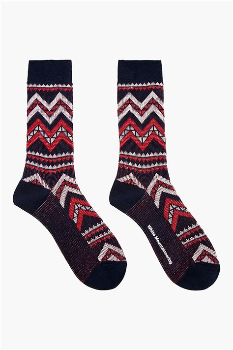 navy patterned socks white mountaineering navy and red big zigzag patterned socks