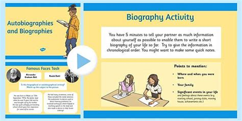 teaching difference between biography and autobiography autobiography and biography powerpoint biography