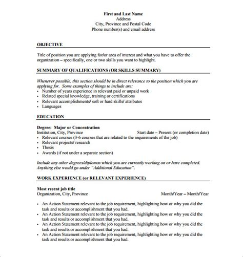 Resume Outlines by Resume Outline Template 12 Free Sle Exle Format