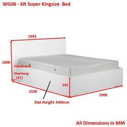white high gloss 6ft king size bed