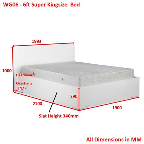 Bed Dimension by White High Gloss 6ft King Size Bed