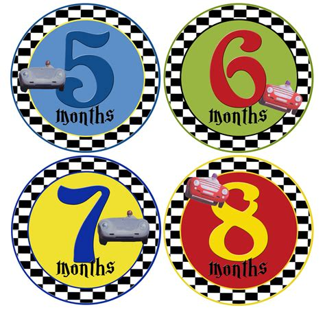 Car Year Sticker by Boy Year Stickers Race Cars 1 12 Months Mumsy Goose