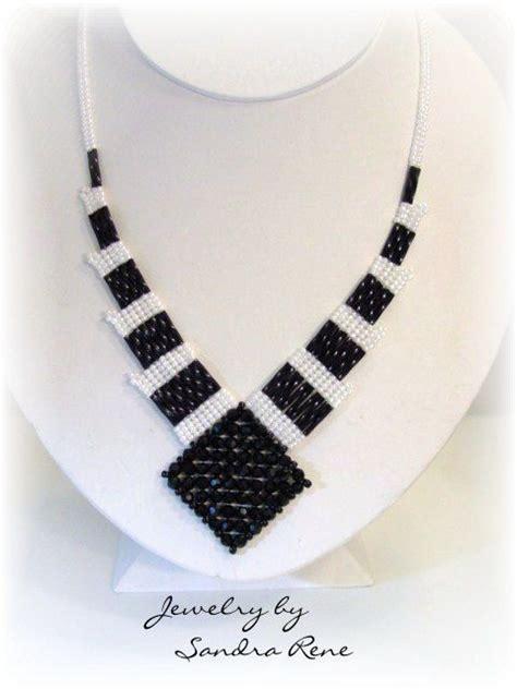 beadwork white beadwork necklace black white beadwoven beadweaving