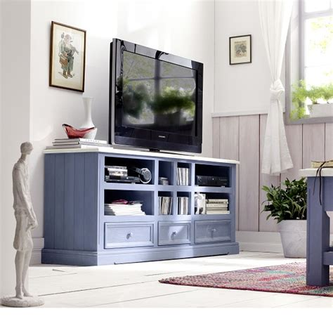 Falcon TV Stand In Pine Wood In Blue And White 25360