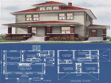 Modern Foursquare House Plans Modern American Foursquare House Plans Foursquare House Colors Prairie Box House Plans