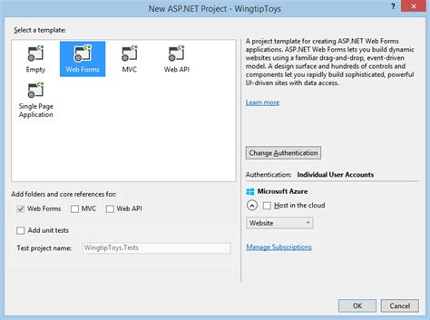 aspx login page template create the project microsoft docs