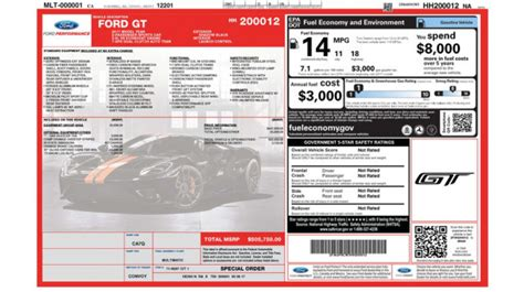 ford gt sticker price leno s ford gt window sticker reveals 450 750 base price