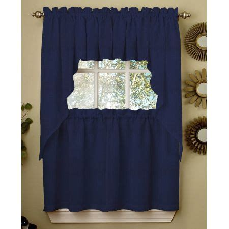 lorraine home ribcord navy blue kitchen curtain kitchen