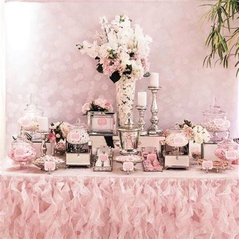 white flower table l pink white and silver dessert table buffets l