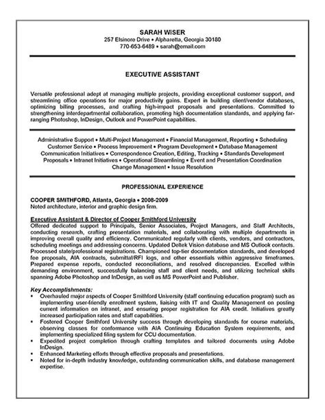 Resume Summary For Administrative Assistant Position Executive Assistant Resume Exle Sle