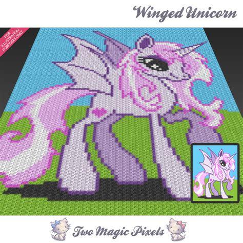 pattern magic pdf gratis winged unicorn c2c graph crochet pattern twomagicpixels