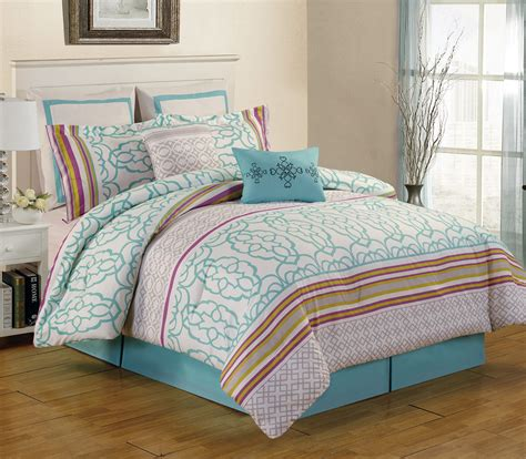 Teal Queen Comforter Set 8 Piece Arvada Teal Comforter Set