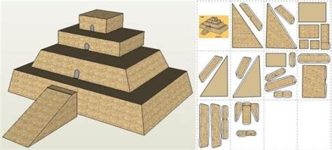 How To Make A Temple Out Of Paper - papermau ziggurat babylonian temple paper model