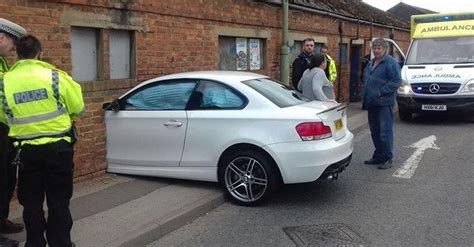 bmw 1 series crashes perfectly into brick wall