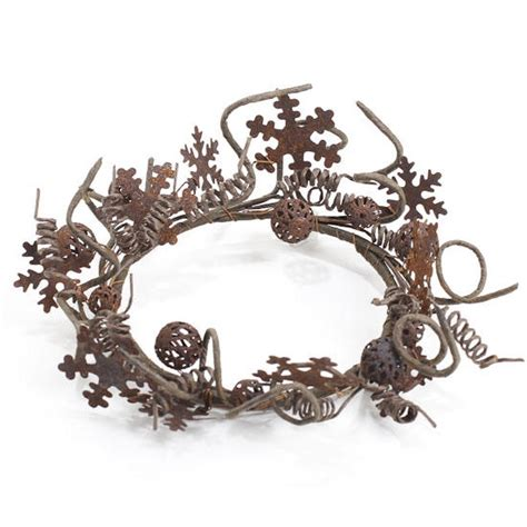 rusty tin snowflake candle ring holiday florals