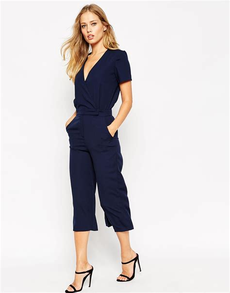 Midi Jumpsuit asos tailored wrap jumpsuit with midi leg in blue lyst