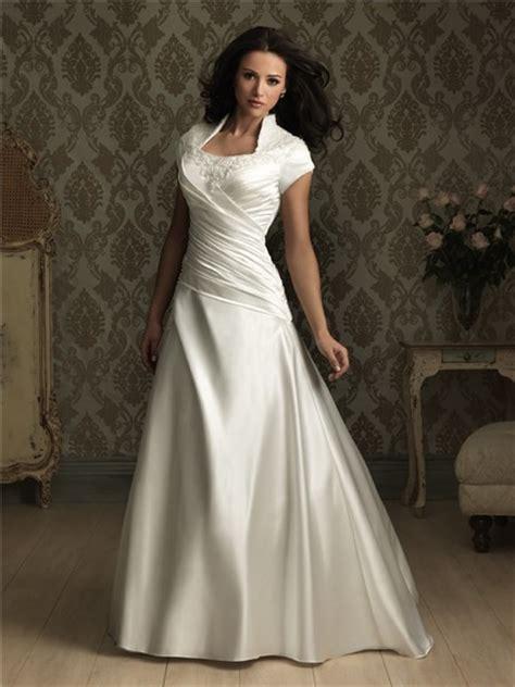 satin silk wedding dresses a line square court cap sleeve silk satin wedding dress