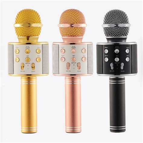 Ready Ws 858 Mic Portable For Karoke Bluetooth Speaker wireless bluetooth ws 858 microphone mic recording