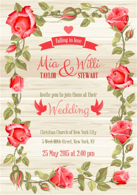 Wedding Invitation Card Flash by Roses Border Wedding Invitation Card Vector Material