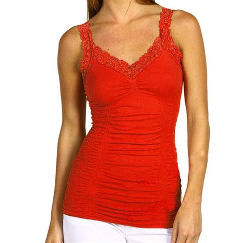 Lace Sabrina Camisole Tangtop seamless stretch lace trim spaghetti rouched camisole tank top cami onesize ebay
