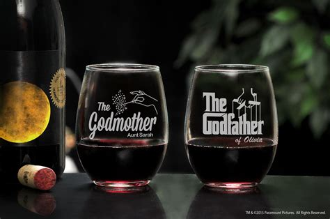 personalized the godfather godmother stemless wine glass