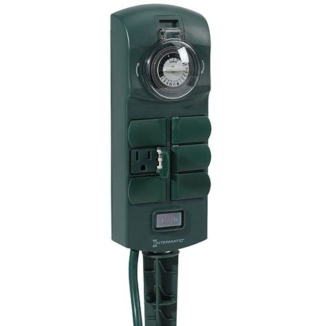 Outdoor Electrical Timers For Lights Intermatic 15 In 6 Outlet Outdoor Stake Timer Green Hb1116k The Home Depot