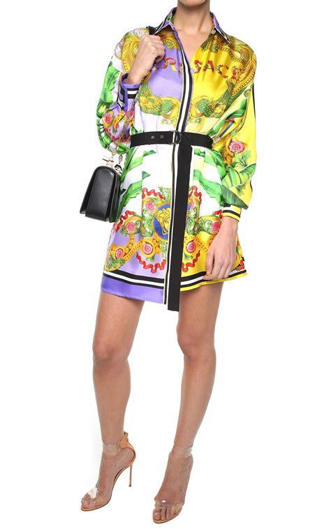 Printed Silk Dress versace versace printed silk twill shirt dress lilla